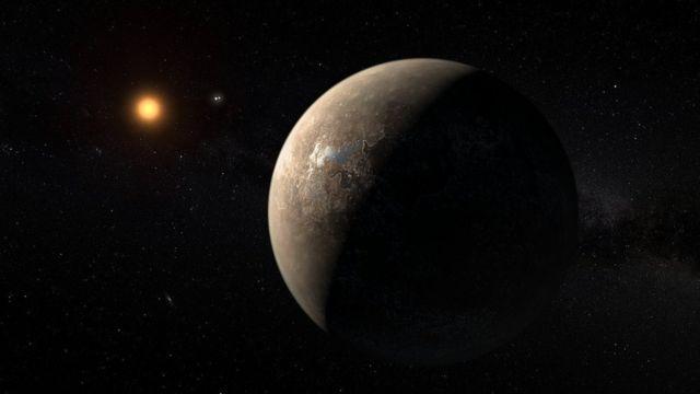 Ilustración de la distancia de Próxima b de su estrella.