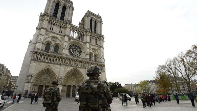 Soldiers outside Notre Dame on 14 November 2015