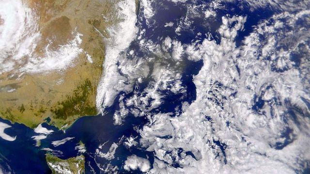 Fotografía satelital del mar de Tasmania.
