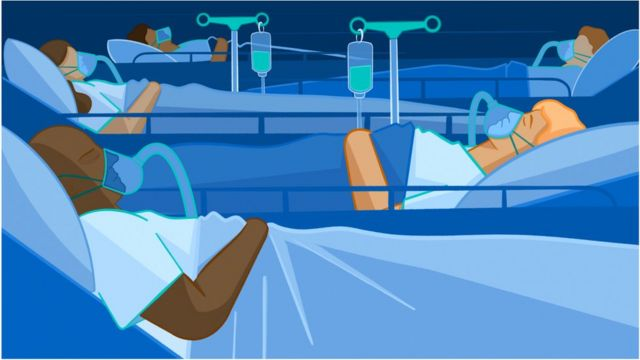 Illustrated image of several patients on an intensive care ward