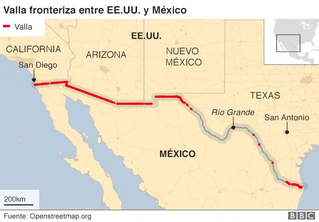 Mapa de la frontera entre EE.UU. y México