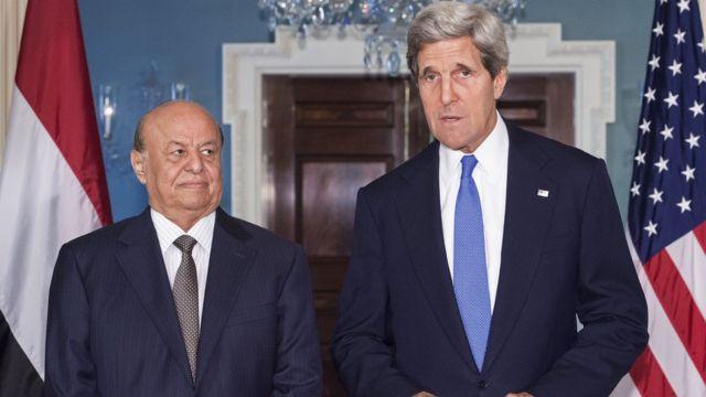 جون كيري وعبد ربه منصور هادي