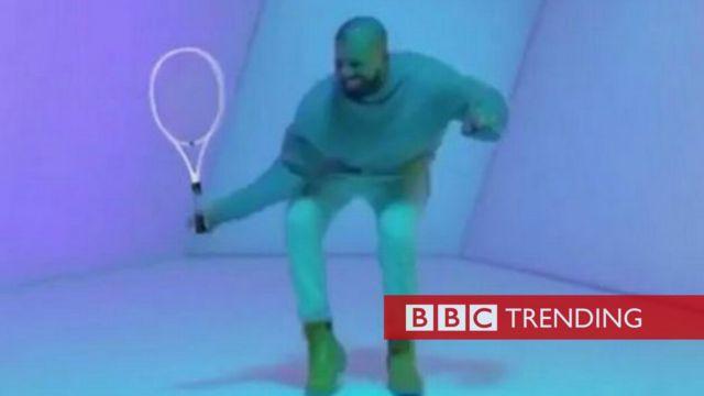 Meme of Drake with tennis racket