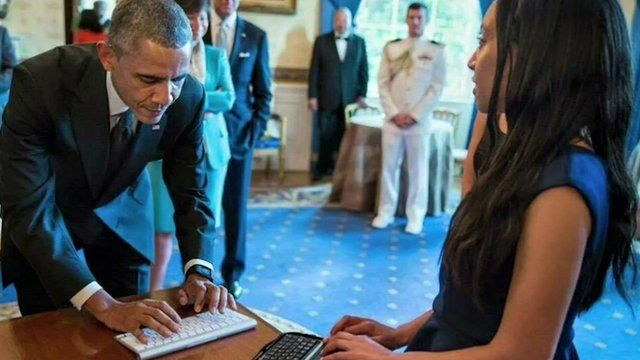 Haben Girma with President Barack Obama