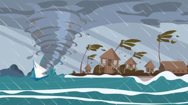 Ilustración de un huracán