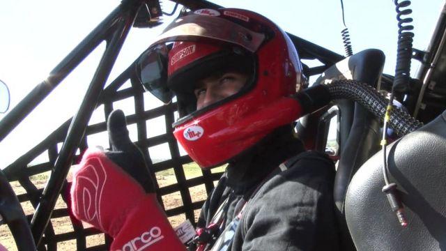 Tejas Hirani in racing helmet