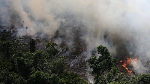 Incendio en la Amazonía brasileña.