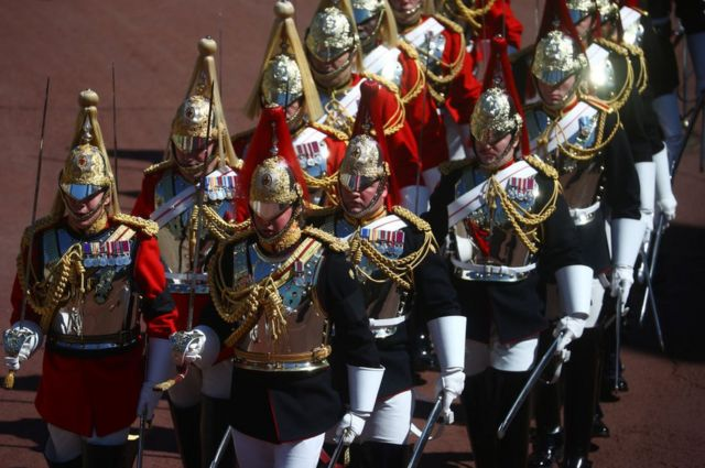 Members of the Household Cavalry are seen ahead of the funeral