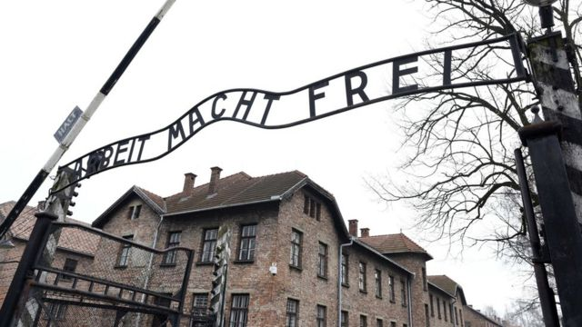 "The infamous ""Abeit macht frei"" (work makes you free"" slogan over Auschwitz's entrance"