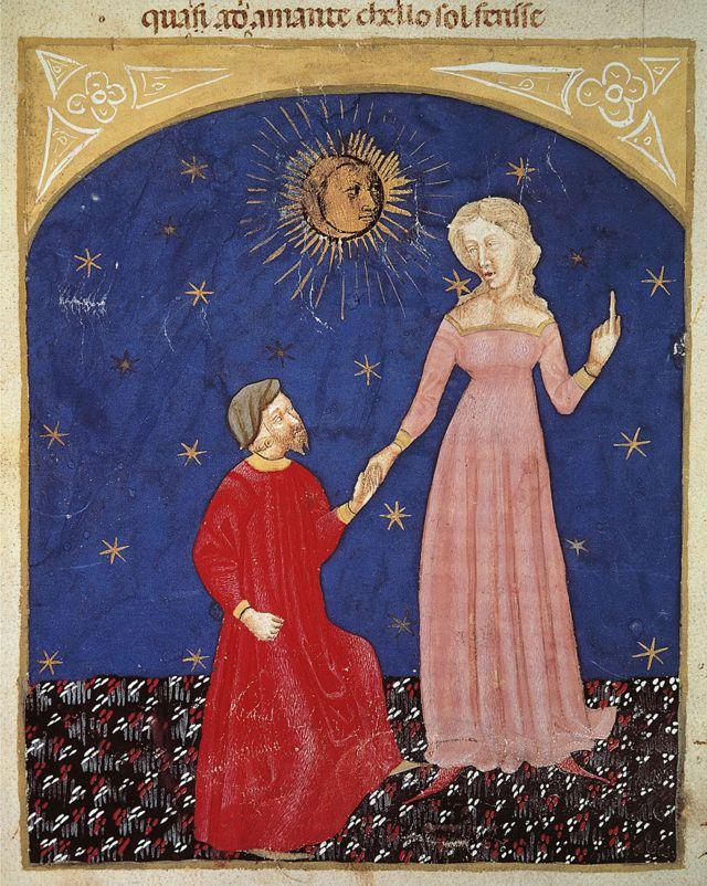 Beatrice guiando a Dante en escena del Paraíso de la Divina Comedia, de Dante Alighieri (1265-1321), miniatura veneciana, siglo XIV.