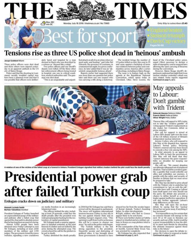 Times gazetesi 18 Temmuz birinci sayfası