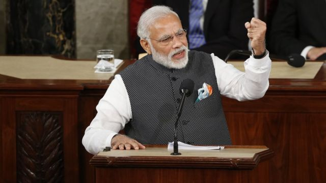 Indian Prime Minister Narendra Modi gestures as he addresses the US Congress