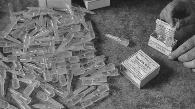 Ampolas da vacina BCG em preto e branco