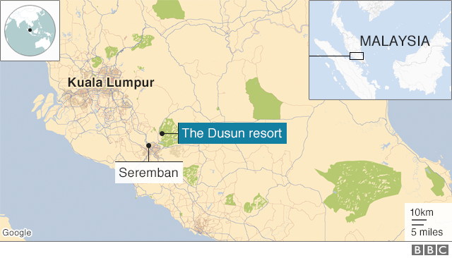 Map showing key locations in Malaysia