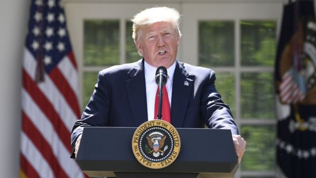 Donald Trump, Beyaz Saray'da konuşuyor.