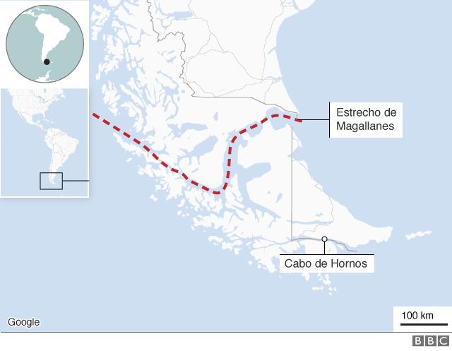 Mapa del Estrecho de Magallanes