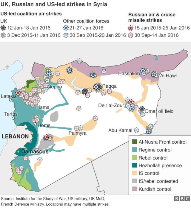 シリア国内の空爆地点(黒:英国、青:そのほかの米主導連合、赤:ロシア)