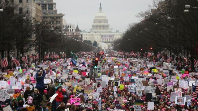 متظاهرون في الولايات المتحدة ضد سياسات ترامب