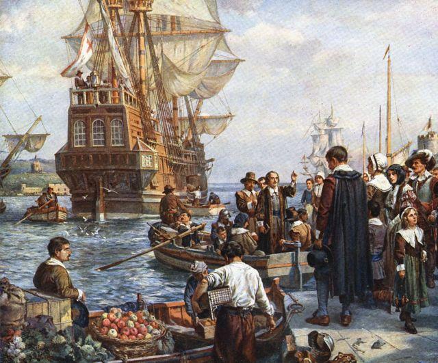 Peregrinos embarcando no Mayflower para sua viagem à América. Bernard Gribble