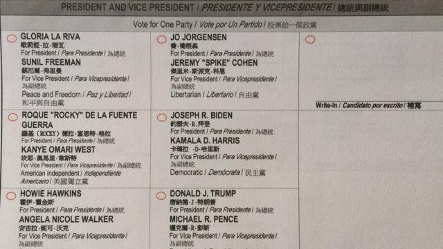 Các liên danh tranh chức tổng thống trên phiếu bầu ở California