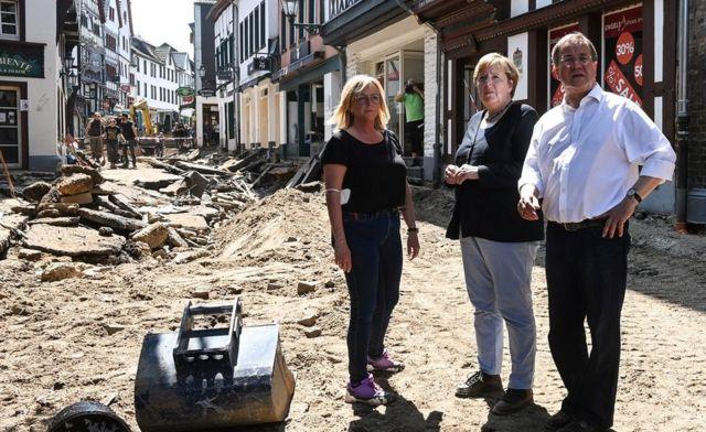 Chancellor Merkel visiting Bad Münstereifel with CDU's Armin Laschet (R)
