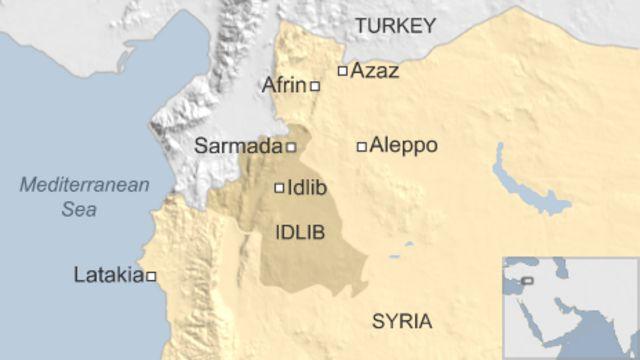 空爆を受けた難民キャンプはイドリブ県サルマダ(Sarmada)から4キロの地点にある