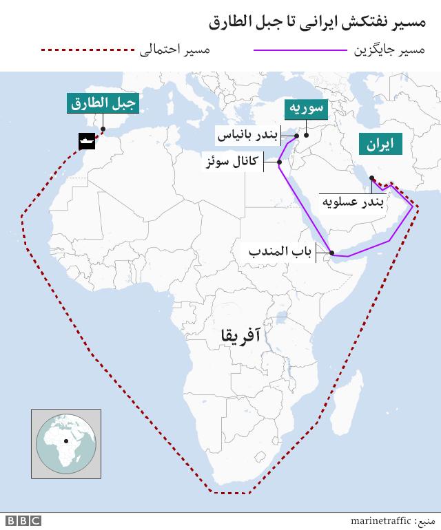 نقشه مسیر نفتکش