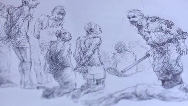 Sketch by Syrian detainee depicting prison torture
