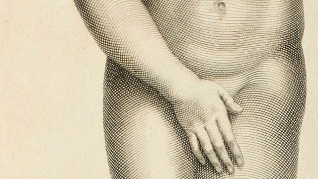 Detail of engraving of Aphrodite of Cnidos by Claude Randon (1674 - 1704)