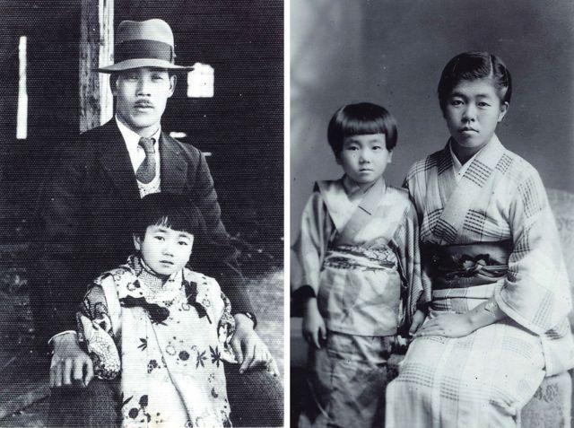 Reiko com o pai e a irmã mais velha