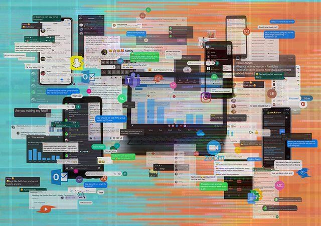 A creative montage showing lots of different types of digital media