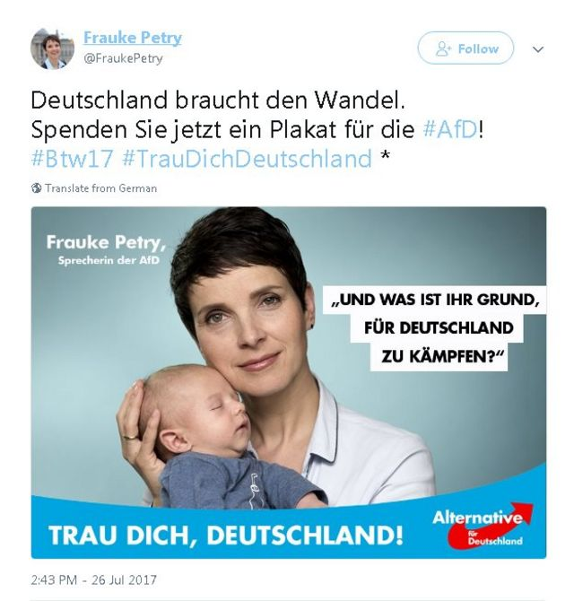 Tweet in German with photo of Frauke Petry holding baby and text in German