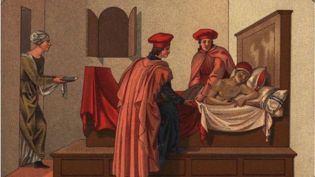 Una pintura sobre un médico con un enfermo