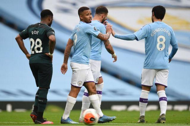 Manchester City players (light blue), 8 Jul 20