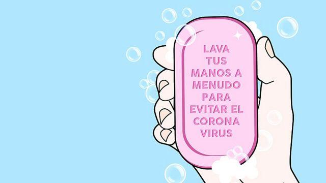"""Dibujo de mano con jabón que dice: """"Lava tus manos a menudo para evitar el coronavirus""""."""