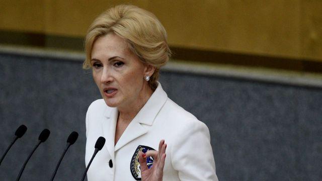 Председатель комитета Государственной Думы РФ по безопасности и противодействию коррупции Ирина Яровая выступает на пленарном заседании Госдумы РФ