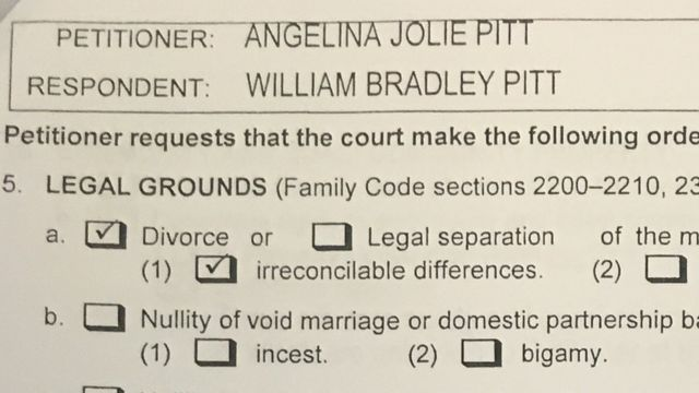 Divorce papers filed by Jolie