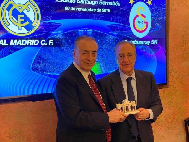 Galatasaray Başkanı Mustafa Cengiz ve Real Madrid Başkanı Florentino Perez