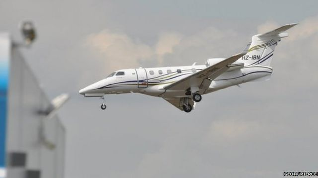 The Phenom 300 just before it crashed at Blackbushe Airport