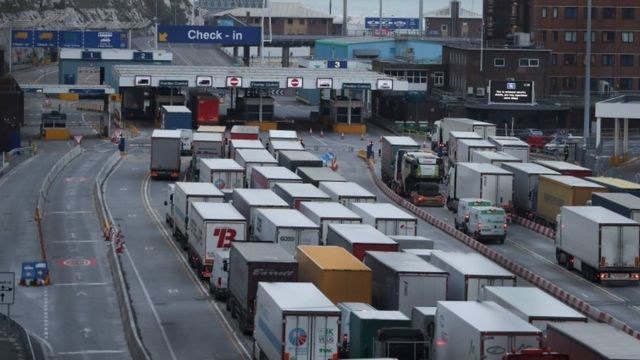 Lorries queue at Dover, UK. File photo