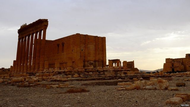 A general view shows the Temple of Bel in the historical city of Palmyra, Syria, August 4, 2010