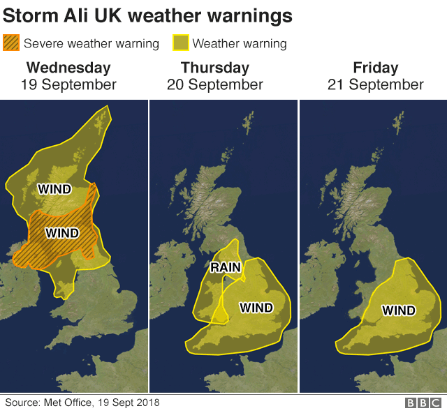 map showing weather warnings