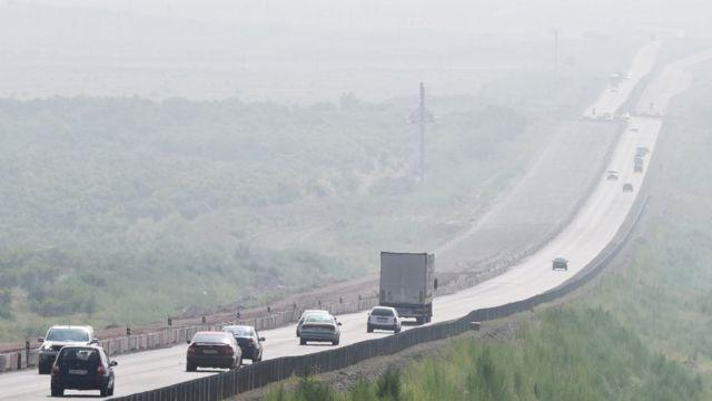 Дым от пожаров в Хакасии