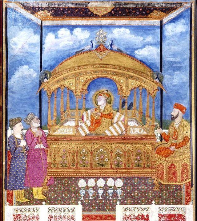 El emperador mogol Alam II sentado en el Trono del Pavo real