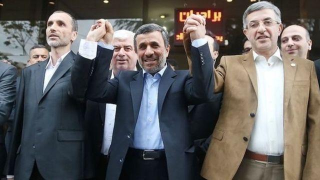 از راست: اسفندیار رحیممشایی، محمود احمدینژاد و حمید بقایی