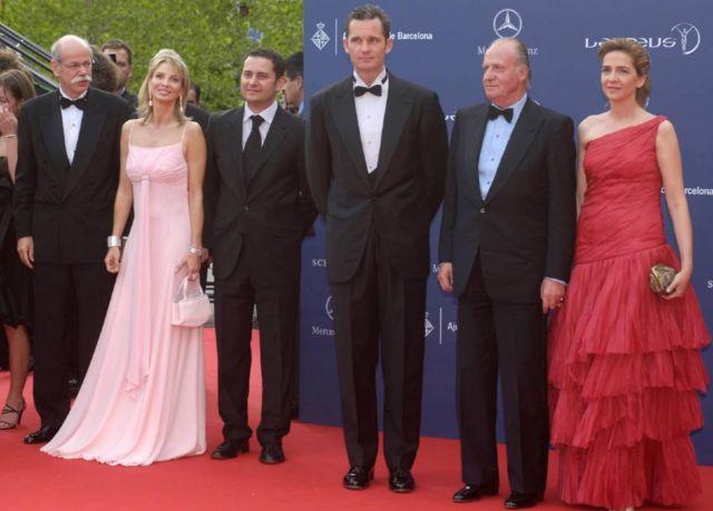Corinna (segunda por la izquierda) con Juan Carlos (segundo por la derecha) e Iñaki Urdangarin