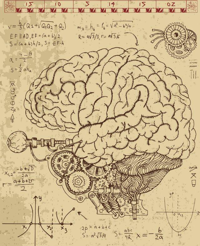 Cérebro com fórmulas