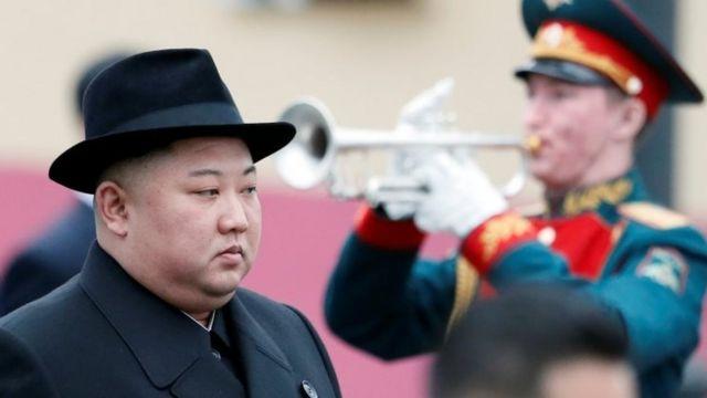 North Korean leader Kim Jong-un at a ceremony in Vladivostok