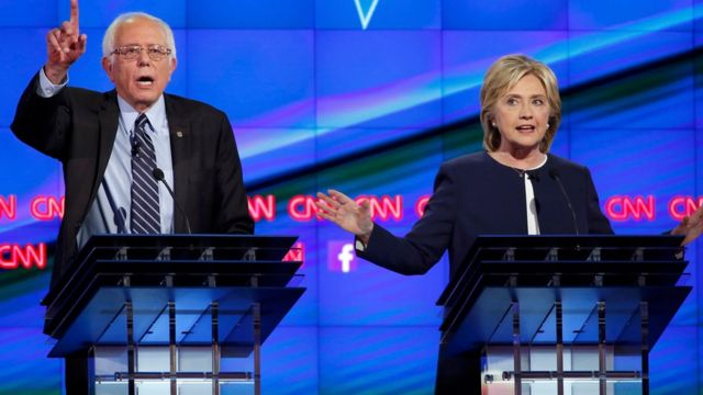 Bernie Sanders and Hillary Clinton at the US Democratic presidential debate
