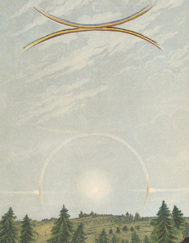 los fenómenos ópticos que resultan de la mezcla de la luz del Sol y cristales de hielo.